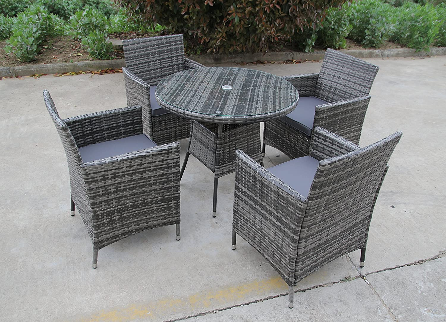 Uk leisure world new bistro 2 4 6 seater rattan wicker dining outdoor garden furniture set grey 4 seater amazon co uk garden outdoors