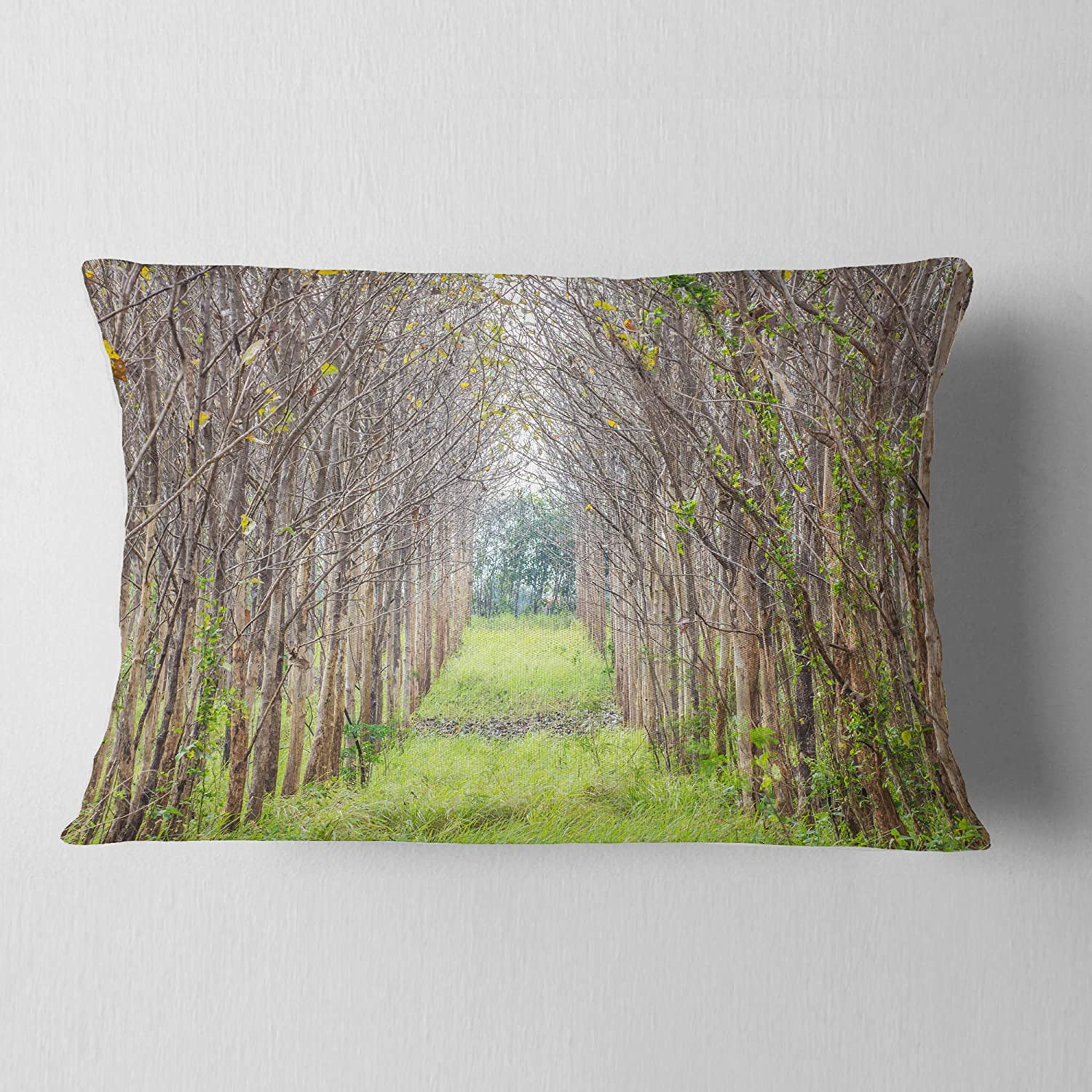 in Designart CU9733-12-20 Pathway Through Fall Green Trees Landscape Photography Lumbar Cushion Cover for Living Room Sofa Throw Pillow 12 in x 20 in Insert Printed On Both Side