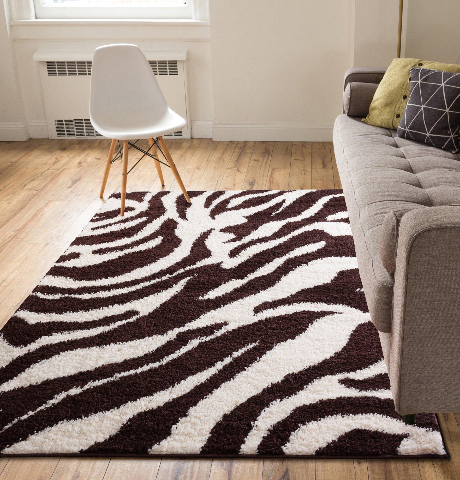 Modern Animal Print 5x7 ( 5' x 7'2'' ) Area Rug Shag Zebra Brown Ivory Plush Easy Care Thick Soft Plush Living Room