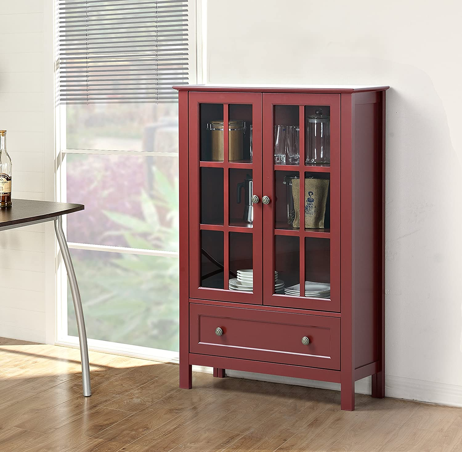 Amazoncom Homestar With 2 Door 1 Drawer Glass Cabinet 4724 X