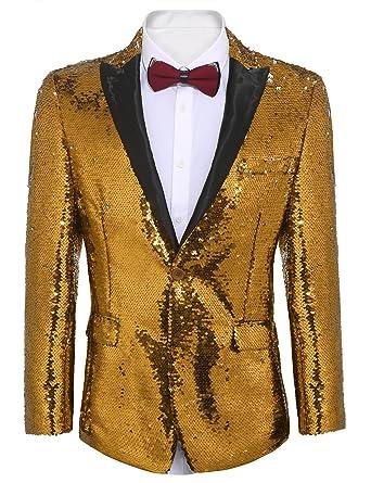 04fd8ea9 COOFANDY Shiny Sequins Suit Jacket Blazer One Button Tuxedo for  Party,Wedding,Banquet,