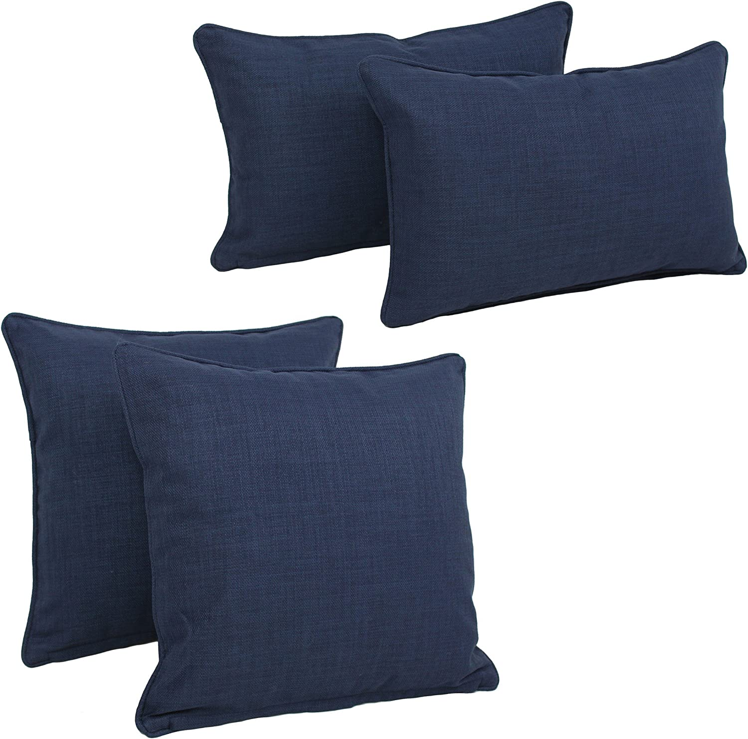 Set of 4 Azul Blazing Needles Double-Corded Solid Outdoor Spun Polyester Throw Pillows with Inserts Set