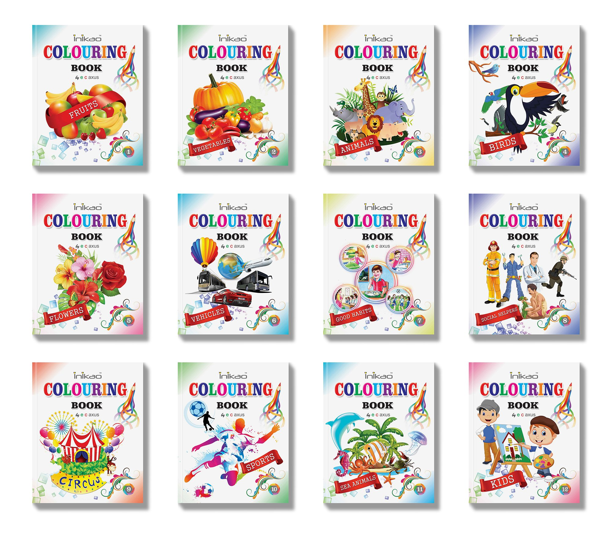 Colouring Books Collections by InIkao (12 Books) : Pack of 12 Copy Color Books For Kids Paperback – 1 January 2017