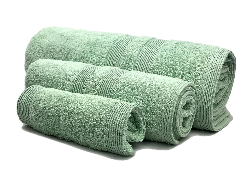 Amazoncom Puffy Cotton Green Bath Towels Bathroom Sets Luxury