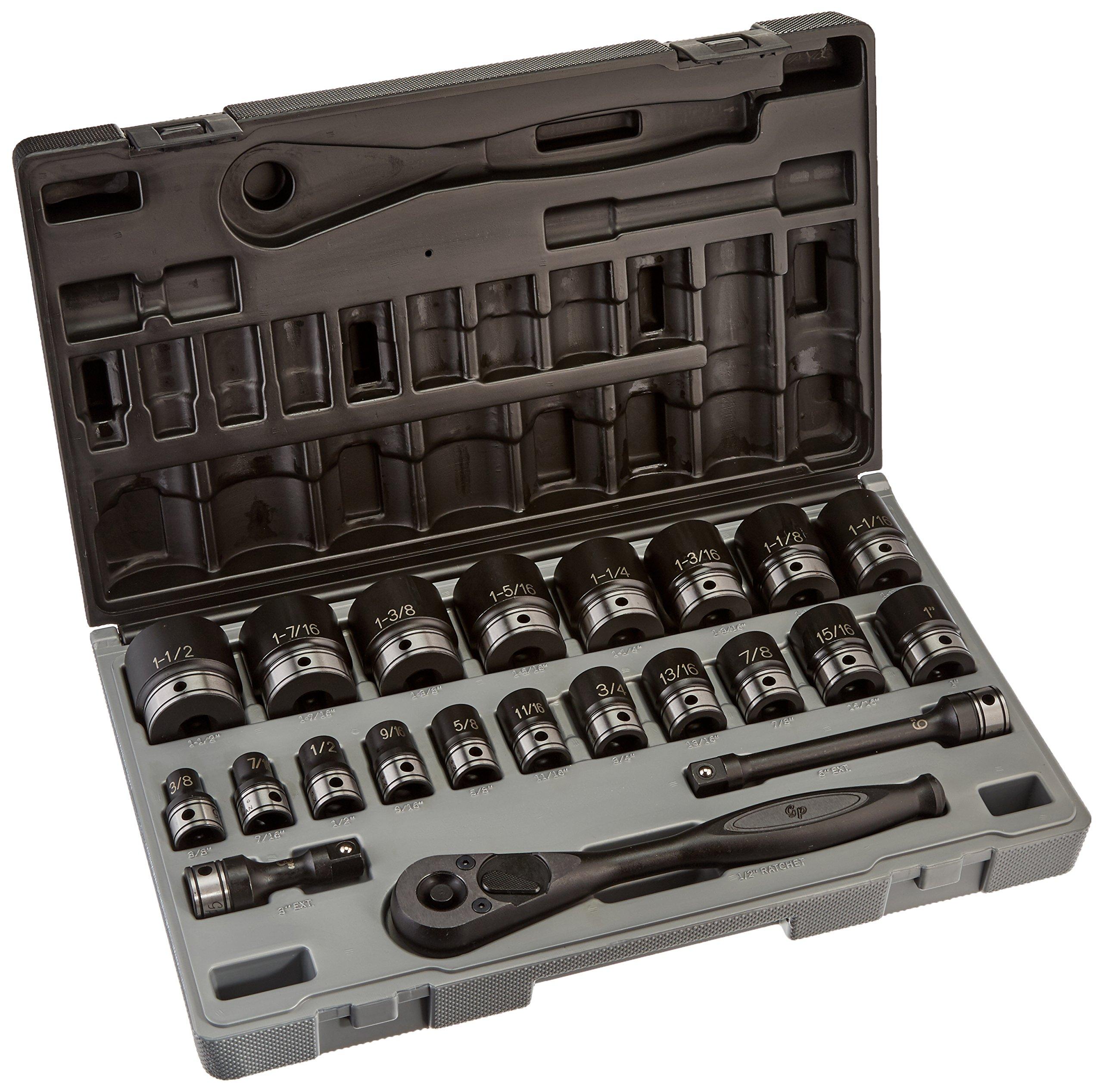 Grey Pneumatic 82622 1/2'' Drive 6-Point Standard Length Fractional Duo-Socket Set - 22 Piece