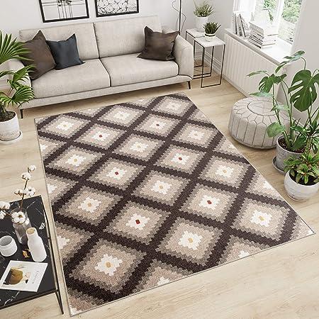 Tapiso Maroko Tapis de Salon Chambre Design Moderne Marron Beige  Géométrique Carreaux Losanges Fin Poil Court 120 x 170 cm