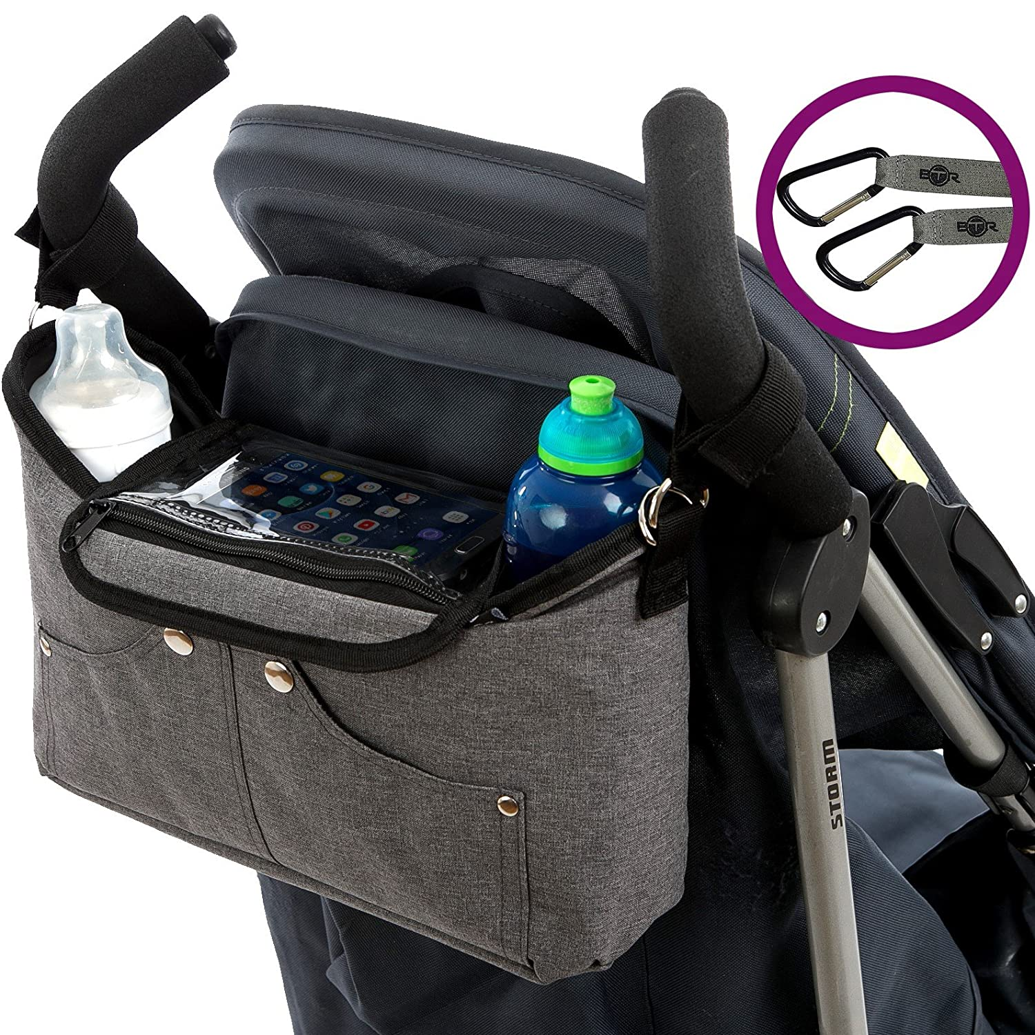 BTR Buggy Organiser & Pram Organiser Bag for Prams & Buggies With Mobile Phone Holder. PLUS 2x Pram Hooks and Buggy Clips. BTR 'Tootles' Buggy Organiser makes A Great Baby Gift or Baby Shower Gift & Baby Accessory