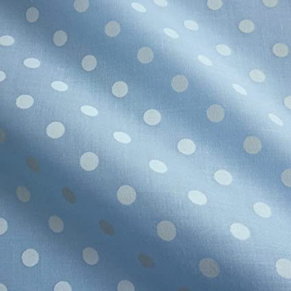 Per Metre Pastel Blue Polycotton Fabric with Printed 5mm White Spot