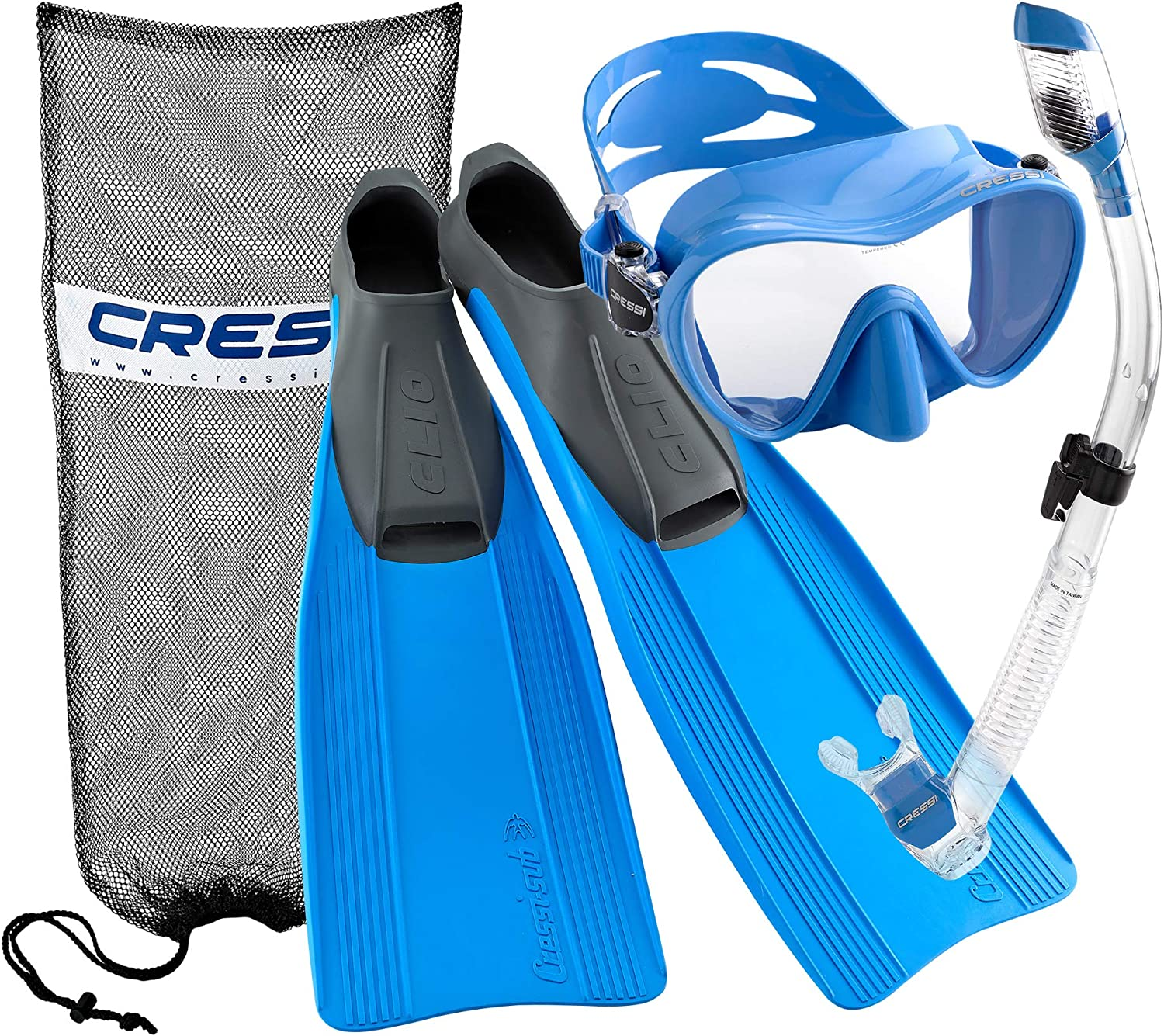 Cressi Clio Full Foot Fin Frameless Mask Dry Snorkel Set with Carry Bag, Blue, Size 8.5/9.5-Size 43/44