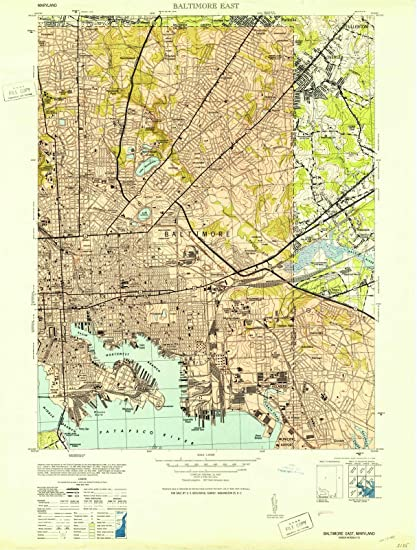 Amazon.com: Maryland Maps |1953 Baltimore East, MD USGS Historical ...