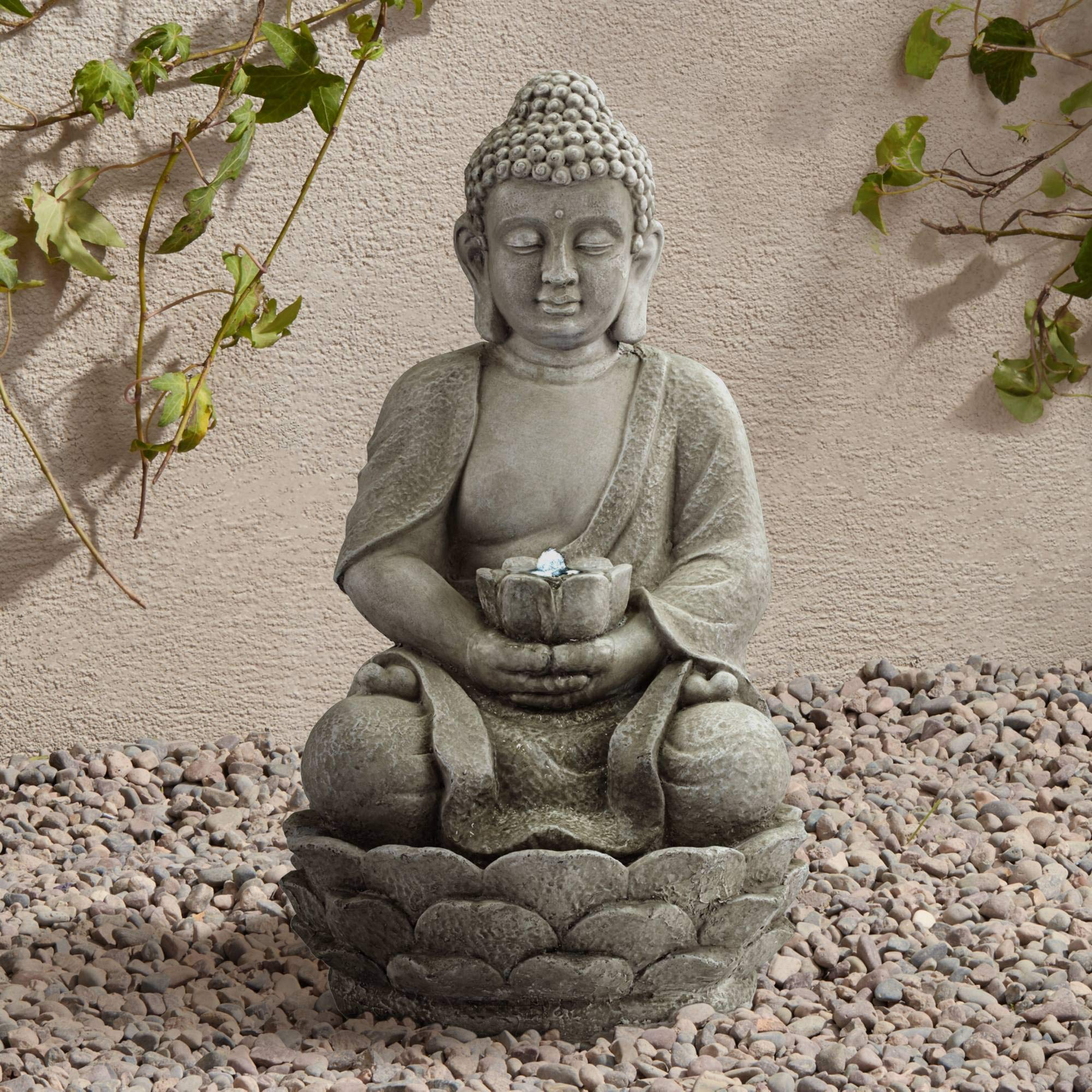 John Timberland Sitting Buddha Asian Zen Outdoor Water Fountain with Light LED 22'' High for Table Desk Yard Garden Patio Deck Home Relaxation