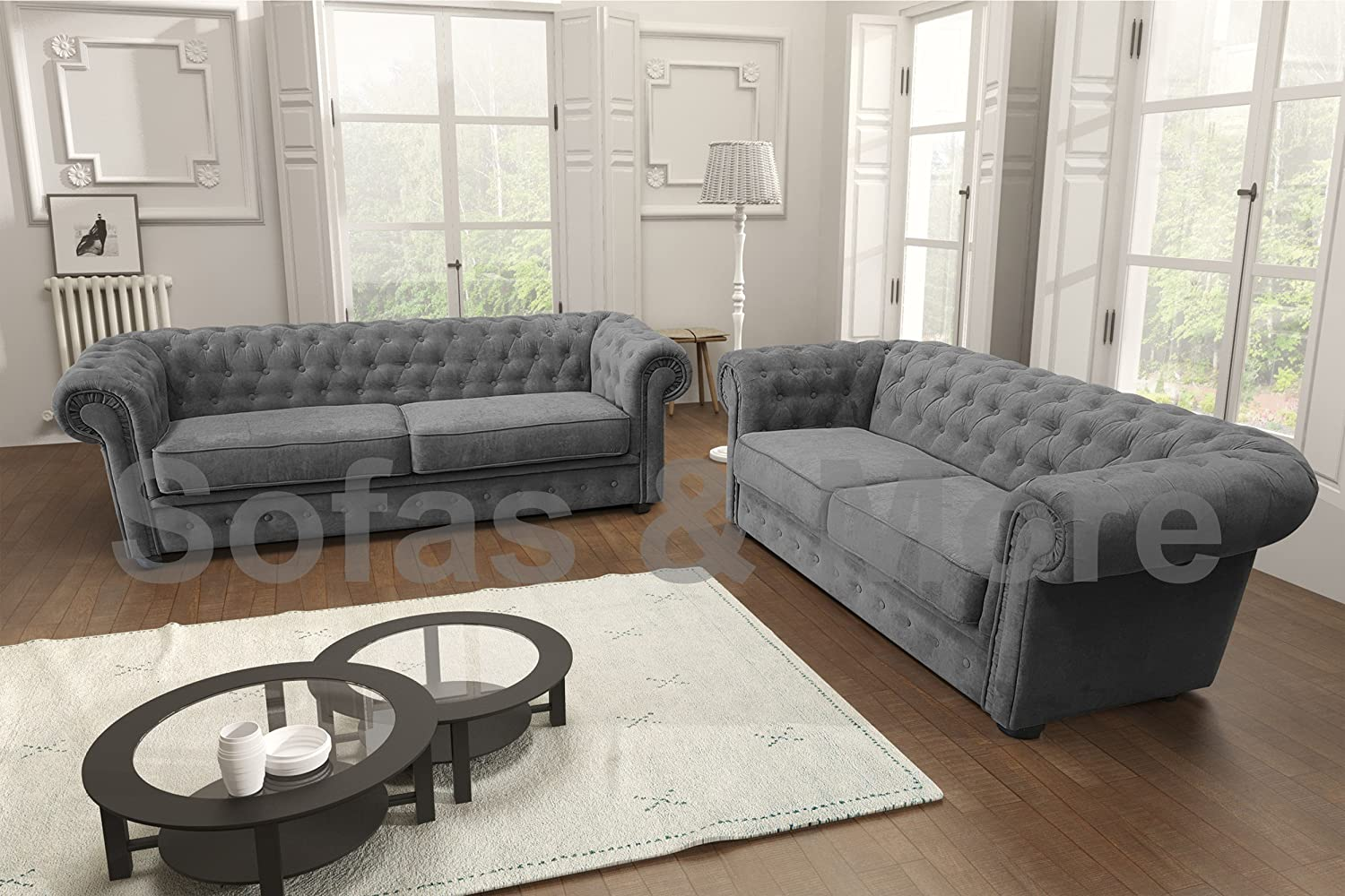 Cool Chesterfield Style Corner Sofa Set 3 2 Seater Armchair Grey Fabric 3 2 Seater Customarchery Wood Chair Design Ideas Customarcherynet
