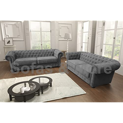 Chesterfield Style Corner Sofa Set 3+2 Seater Armchair Grey Fabric (3+2