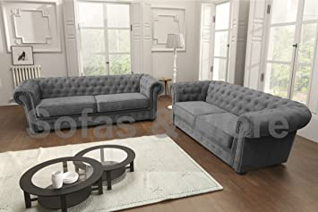Chesterfield Style Corner Sofa Set 3 2 Seater Armchair Grey Fabric