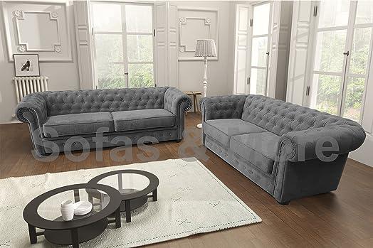 Chesterfield Style Corner Sofa Set 3+2 Seater Armchair Grey Fabric ...