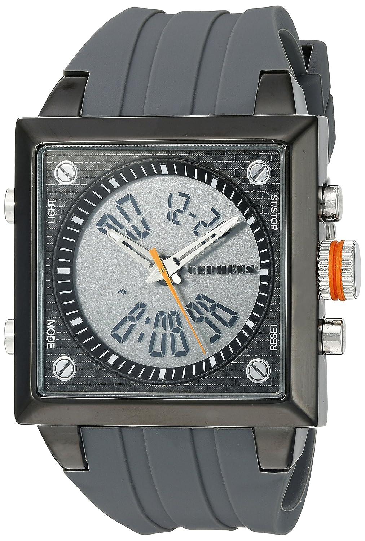 CEPHEUS CP900-622B - Reloj analógico y digital de cuarzo para hombre con correa de silicona, color gris