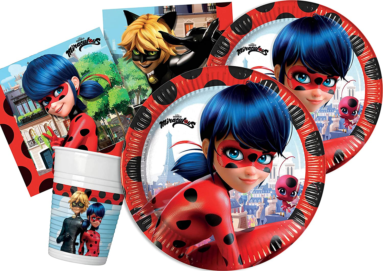 Girls Miraculous Ladybug Superhero Birthday Party 36Pc Tableware Decoration Set