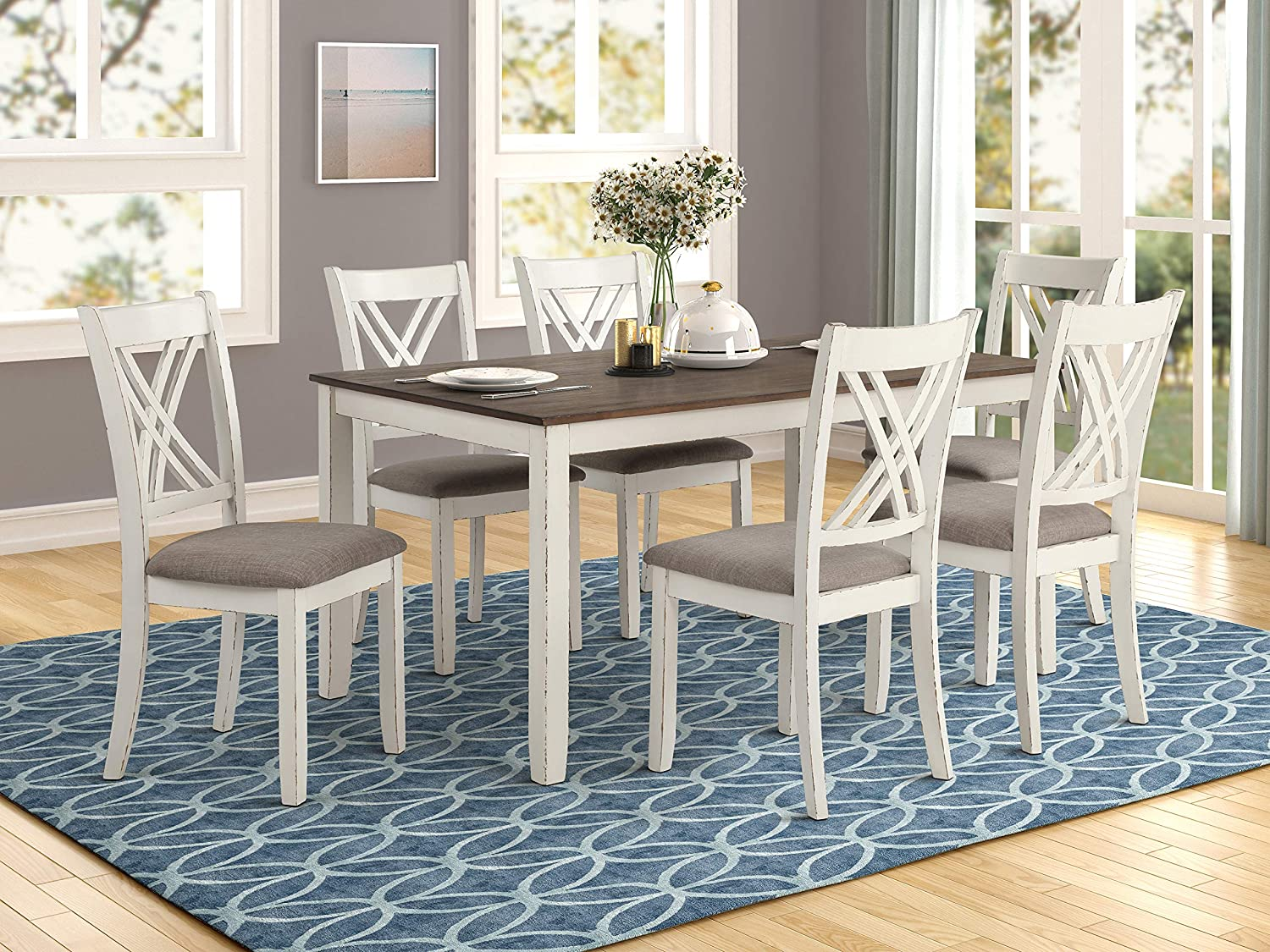 Coaster Home Furnishings Fortress 7-Piece Dining Set, Light Brown, Chestnut Vintage White