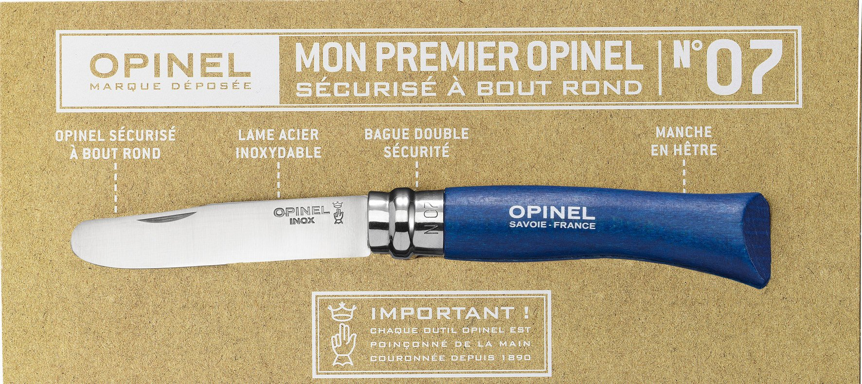 Opinel No 7 Round End Safety Blue
