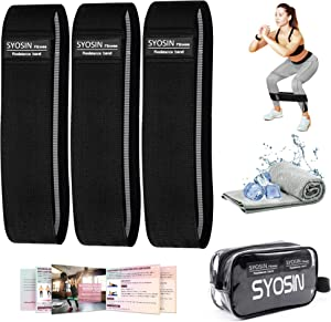 SYOSIN Resistance Bands, 3 Levels Non-Slip Leg Bands, Exercise Bands for Legs and Butt, Fitness Workout Fabric Bands with Cooling Towel & Carry Bag & Exercise Guidelines for Pilates, Yoga