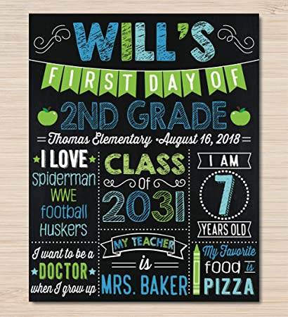 photograph regarding First Day of School Sign Printable called : Dozili Custom made Initial Working day of Higher education Signal