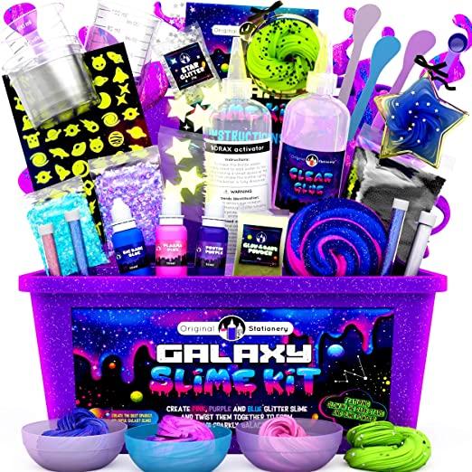 Amazon Com Original Stationery Galaxy Slime Kit With Glow In The Dark Stars Slime Powder To Make Glitter Slime Galactic Slime For Boys And Girls Toys Games