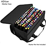 ADVcer Marker Case 120 Storage Holders, Foldable Velcro Oxford Organizer with Carrying Handle, Shoulder Strap and QR Buckle for Copic Marker, Prismacolor Marker, Dry Erase Marker, Paint Markers, Black