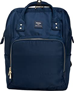 Kah&Kee Nylon Backpack Diaper Bag with Laptop Compartment Waterproof Work Travel School for Women Man (Navy)