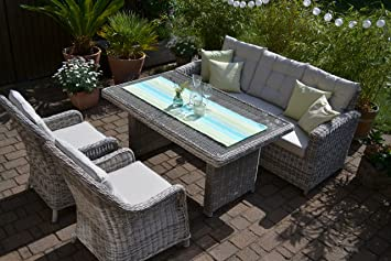 Amazon.de: bomey Rattan Lounge Set I Gartenmöbel Set Manhattan 4 ...