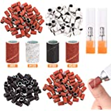 PAGOW 200Pcs Nail Sanding Bands, Electric Art Sanding Bands with Nail Drill Bits Set, Professional 80# 120# 180# 240# Grit Na