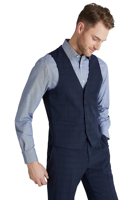 69d1ae8537efc high-quality Moss Esq. Men s Regular Fit Navy Check Suit Vest ...