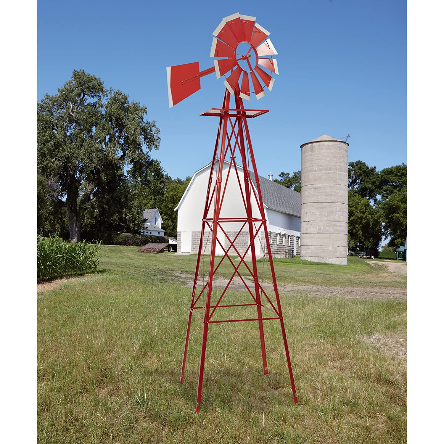 amazon com 8ft ornamental garden windmill red and white