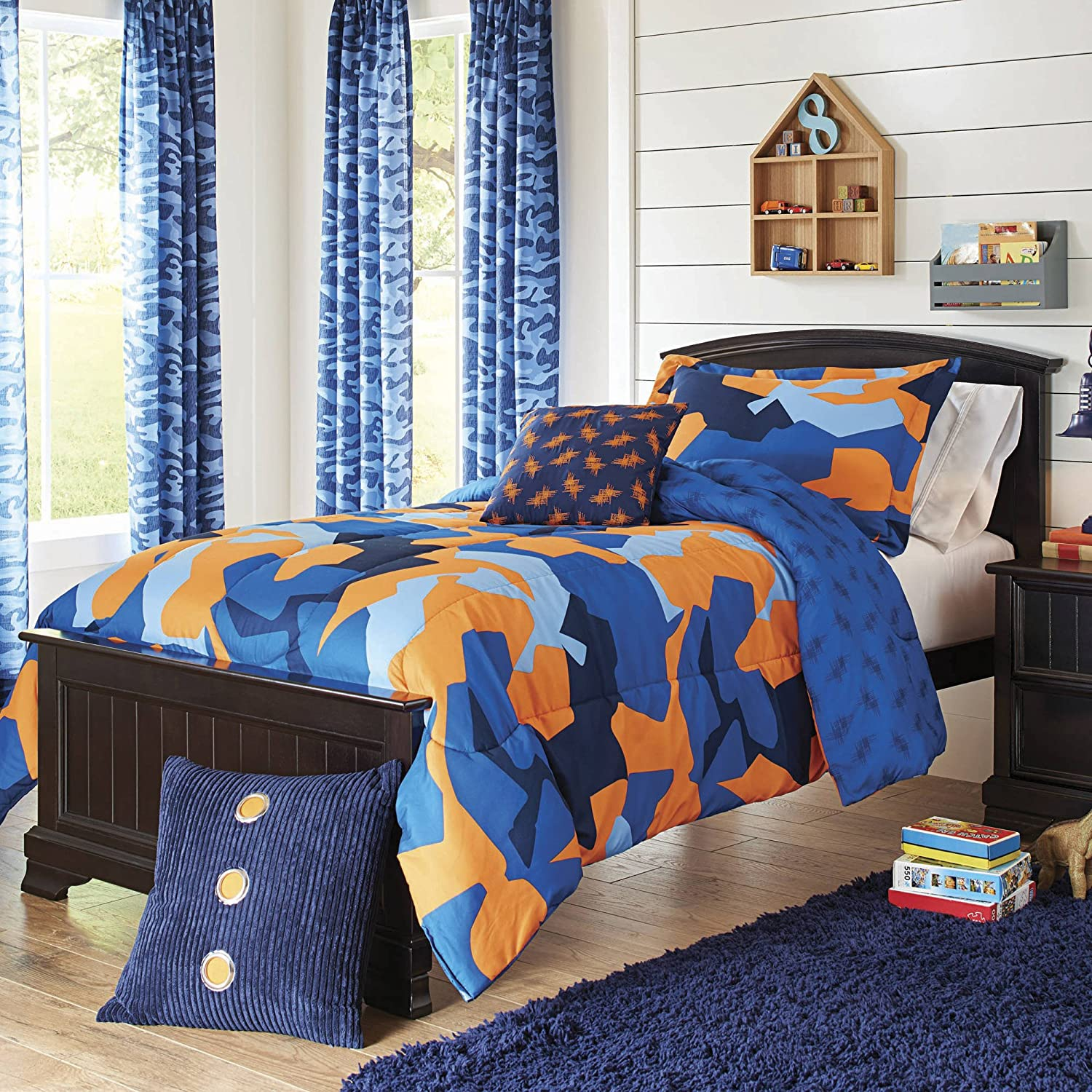 Super Soft and Cute Better Homes and Gardens Kids Camo Navy Bedding Comforter Set, Blue/Orange,Twin/Twin XL