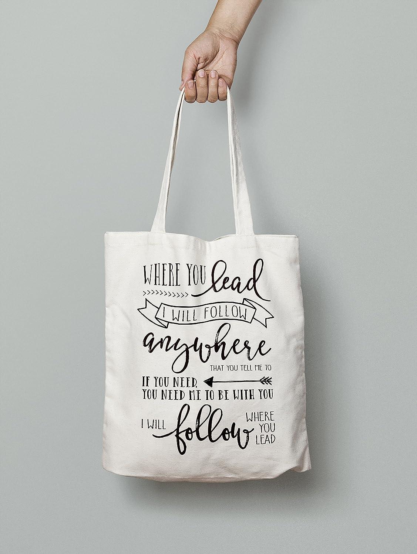 ebc606ae1c42 Amazon.com: Gilmore Girls Tote Bag- Where You Lead, I Will Follow Lyrics:  Handmade