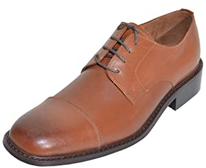 Veeko Mens Cap Toe Lace Up Leather Oxford Dress Shoes (Brown, 7.5)