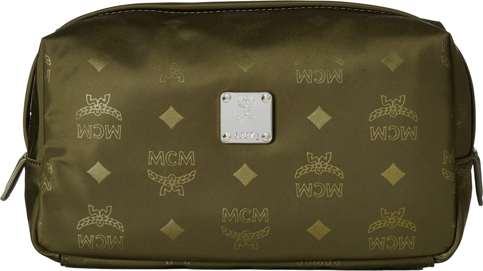 MCM Women's Dieter Monogrammed Nylon Small Cosmetic Pouch Loden Green One Size