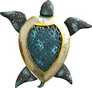Hanizi Metal Sea Turtle Wall Decoration Wall Sculpture Hanging Art Indoor Outdoor, 12.2 x 11.8 inches