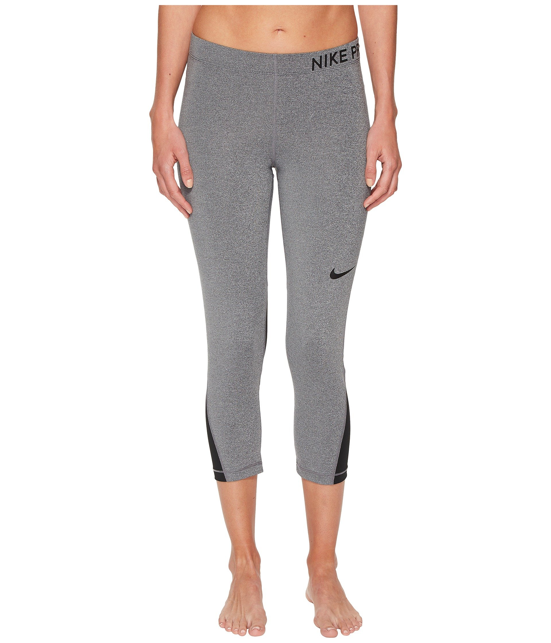 Nike Women's Pro Capri Charcoal Heather/Black/Black Small 20.5 by Nike