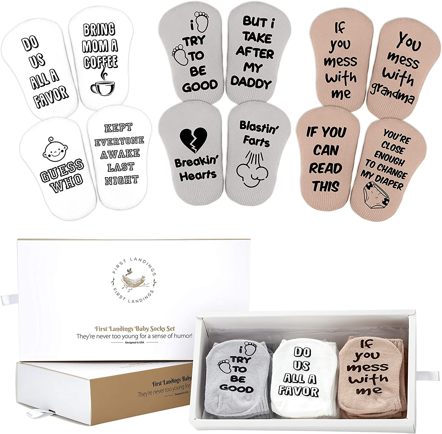 First Landings Baby Socks Gift Set | Baby Shower Gifts Boys Girls Gender Neutral