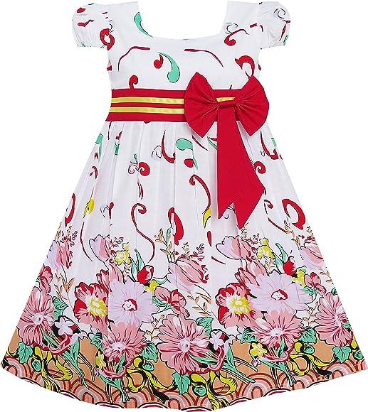 Sunny Fashion Vestido para niña Rosa Flor Manga Corta Fiesta Cumpleaños niños 10 años