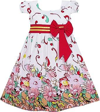 Sunny Fashion Vestido para niña Rosa Flor Manga Corta Fiesta ...