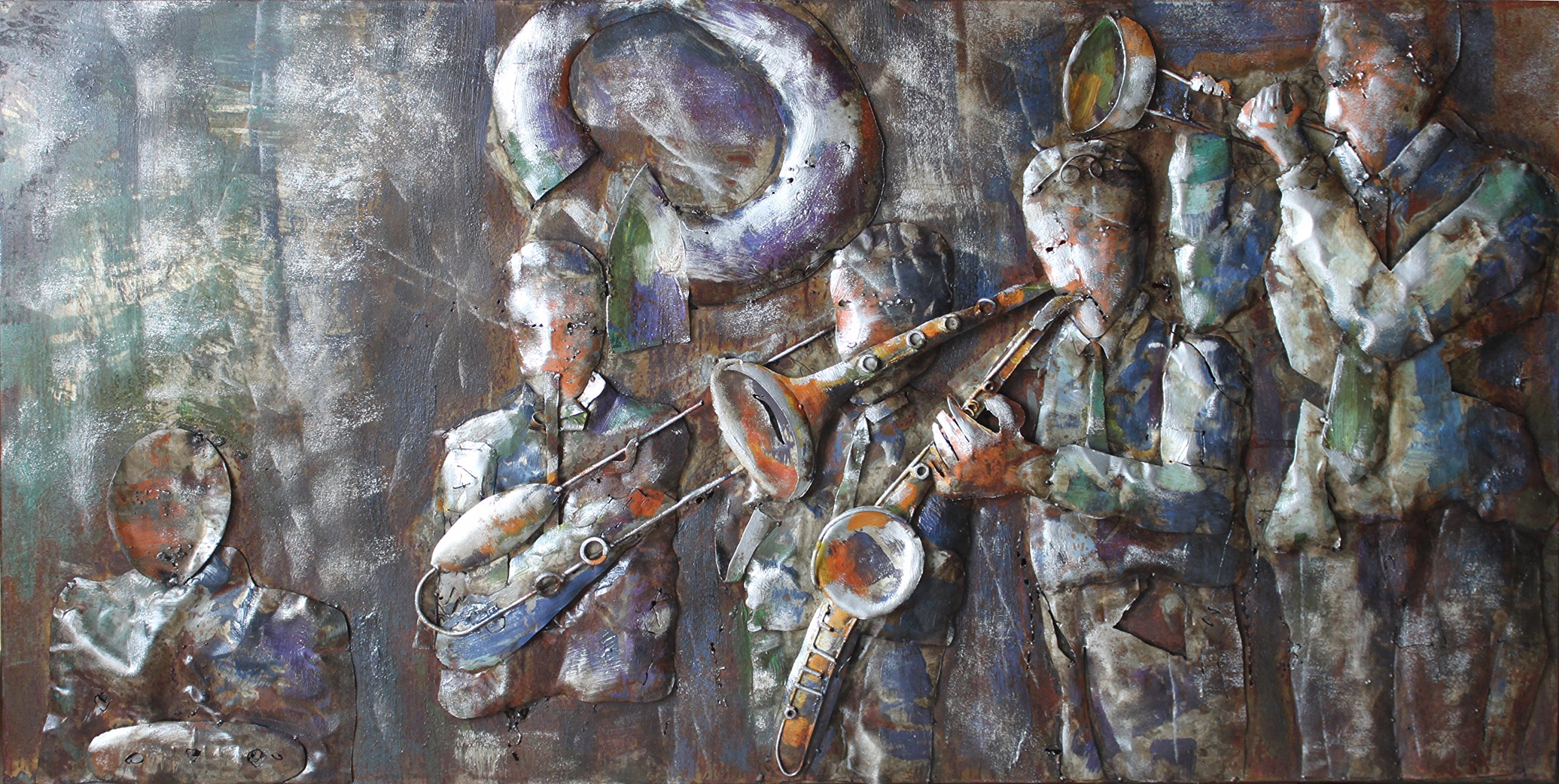 Empire Art Direct ''Jazz Band'' Mixed Media Hand Painted Iron Wall Sculpture by Primo