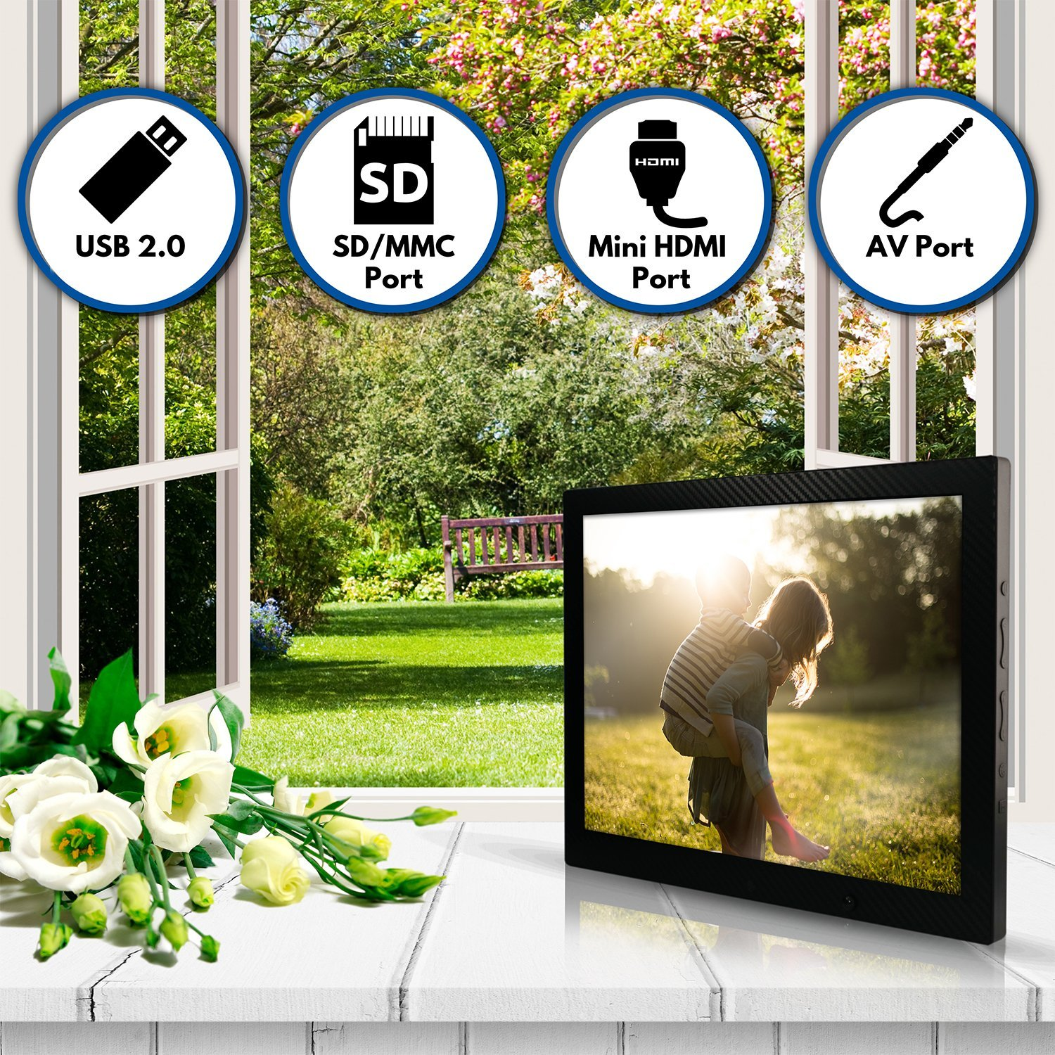 12 inch HD Digital Picture Frame Carbon Fiber - 1080p High Definition Electronic Photo Frame With Video, 16GB Memory, Motion Sensor, Built-In Speakers & Remote Control - (Black) by Spiro Goods (Image #5)