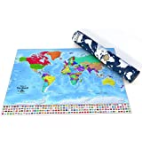 Scratch The World Map (84.1 x 59.4 cm). Scratch And Track Countries Visited. With US States and Cities