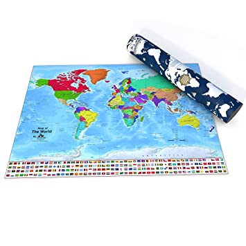 World Scratch Map Poster 33 1 X 23 4 Inches Scratch And Track Countries Visited