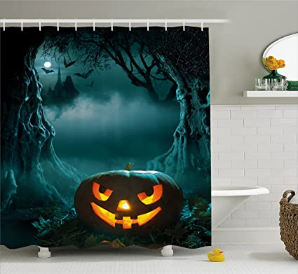 Ambesonne Halloween Shower Curtain By Carved Pumpkin In Dark Misty Forest Ancient Trees Gloomy Scenic