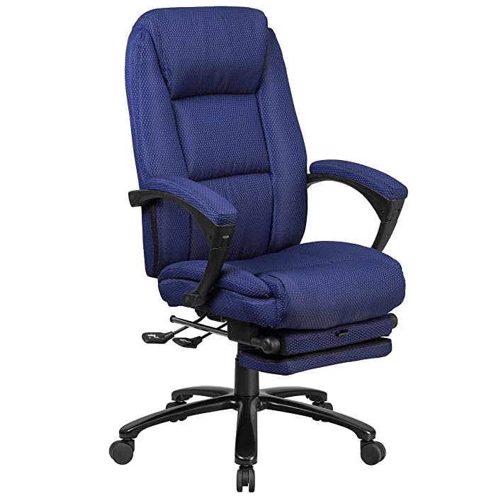 Flash Furniture High Back Navy Fabric Executive Reclining Ergonomic Swivel Office Chair with Comfort Coil Seat Springs and Arms