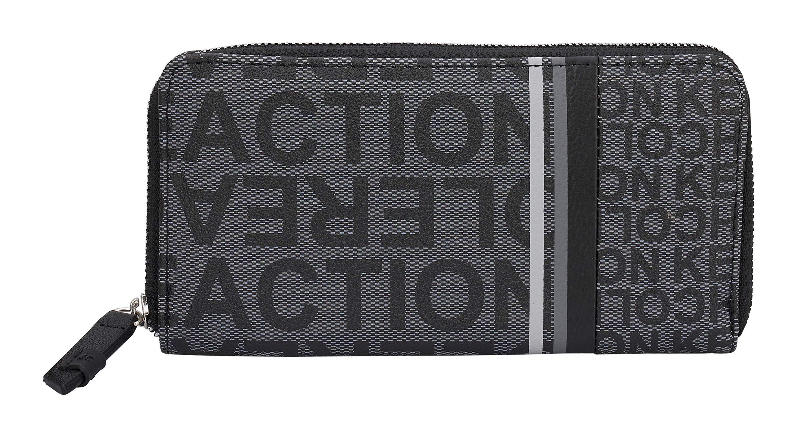 Kenneth Cole Reaction Women's Bold Print Clutch Zip Around Wallet (Black Bold Print)