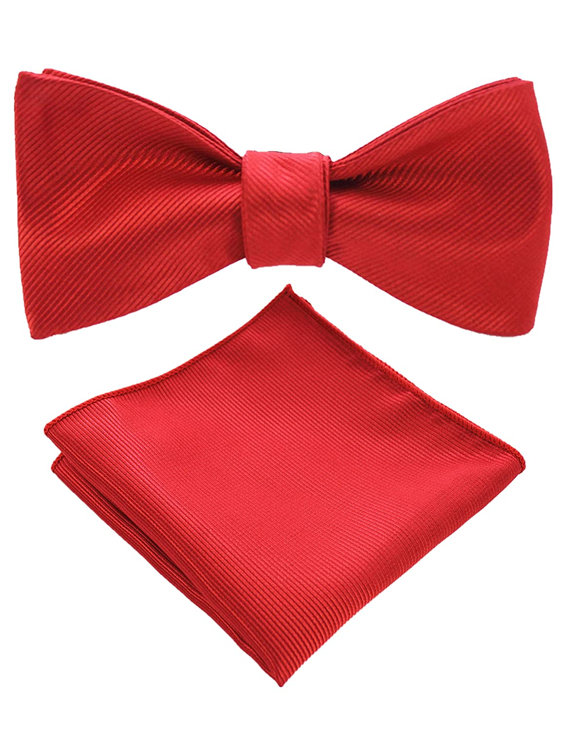 JEMYGINS Mens Formal Bowtie Solid Self Tie Bow Tie and Pocket Square Set (10 Colors)