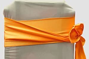 Vinex Pack of 12 Satin Chair Sashes Bow Sash for Wedding Party Engagement Even Birthday Graduation Meeting Banquet Decoration Event Supplies Party Decoration Chair Cover Sash - Orange